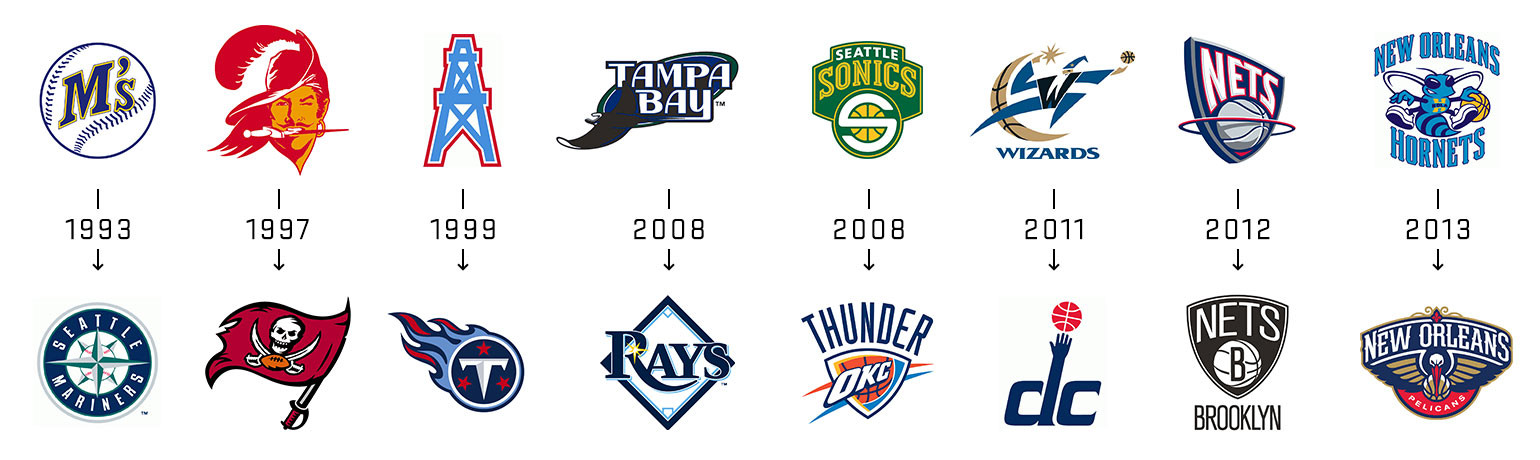 Sports logos - before and after rebranding